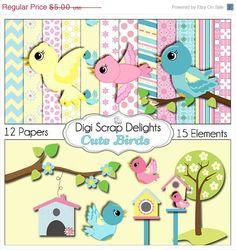 Cute Birds Clip Art Scrapbook Kit for Card Making, Webdesign, Crafts, Digital Scrapbooking, Cuok