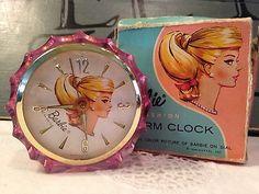Vintage Barbie alarm clock and box. Barbie I, Barbie World, Barbie And Ken, Barbie Stuff, Vintage Girls, Vintage Toys, Vintage Stuff, Vintage Decor, Vintage Photos