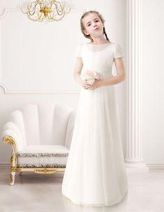 Lovely A-Line Short Sleeves Floor Length Tulle Communion Dress