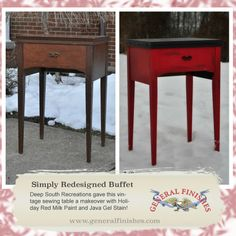 They used General Finishes Holiday Red Milk Paint and Java Gel Stain.