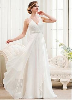 Elegant Chiffon & Stretch Satin V-Neck A-Line Wedding Dresses