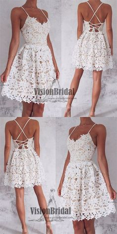 Cute White Spaghetti Straps Lace Homecoming Dress, Sexy Cross Back Homecoming Dress, VB0671 #homecomingdresses #homecoming