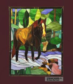 Lone Stream Wader (2), a horse mosaic in stained glass. $179.00, via Etsy.