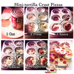 Mini tortilla pizzas - preheat oven to 400 degrees, then bake for minutes or until cheese is bubbly. Remove from oven and cool before using a fork to transfer mini pizzas from muffin tin to a serving plate. Recipes Appetizers And Snacks, Appetizer Dips, Pizza Recipes, Cooking Recipes, Mini Tortillas, Corn Tortillas, Lunch Snacks, Kid Lunches, Kid Snacks