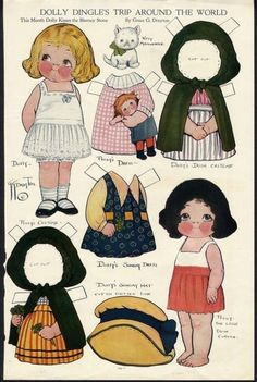 Dolly Dingle Paper Dolls by Grace G. Drayton 1978 - Dover Publishing Co, Plate 14 of Paper Dolls Book, Vintage Paper Dolls, Paper Toys, Paper Art, Paper Crafts, Paper Dolls Printable, Thinking Day, Kewpie, Doll Patterns