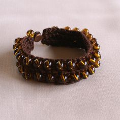 Brown Cotton Crochet Bracelet with Czech Glass by WestHillNook, $11.00