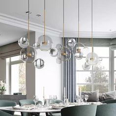 Modern Soap Bubble Clear Globe Glass 3 Light Dimmable LED Multi Light Pendant Lamp for Kitchen Island Dining Room Light Bubble Chandelier, Globe Chandelier, Modern Chandelier, Chandelier Lighting, Dining Chandelier, Suspended Lighting, Black Chandelier, Multi Light Pendant, Led Pendant Lights