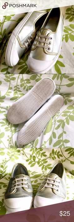 Ralph Lauren metallic gold and silver loafers Good condition - light scuffing - still in very good condition Shoes Flats & Loafers