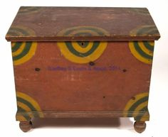 This brightly paint-decorated pine blanket chest is from Pennsylvania, circa The chest is a convenient diminutive size at x x The case is dovetailed, with molding applied to the lid and at the base.have Tom make . Painting Antique Furniture, Antique Paint, Painted Furniture, Primitive Furniture, Primitive Antiques, Country Furniture, Blanket Box, Blanket Chest, Antique Chest
