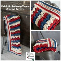 Patriotic Archway Throw CAL begins Monday and ends Thursday This pattern is easily customized to your desired size. Crochet skill level: Easy Heartland yarn was used to make this sample Afghan Crochet Patterns, Knit Patterns, Crocheted Afghans, Half Double Crochet, Single Crochet, Free Crochet, Knit Crochet, Crochet Things, Rustic Colors