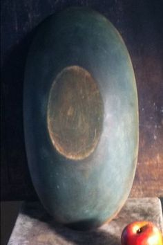 Old WOODEN TRENCHER PRIMITIVE DOUGH bowl OVAL blue green PAINT AAFA wood