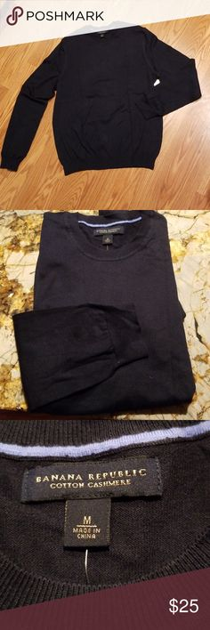 b6a29418d91e54 Banana Republic Sweater Navy blue cotton cashmere fine gauge