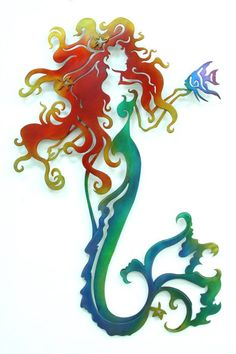 Wall Hangings Metal Wall Hanging Abstract, Mermaid large colored | Gifts Of Art