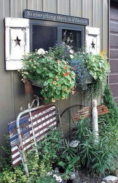 window boxes and shutters on the shed