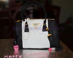 Prada purse cake black and white