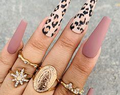 Cheetah Print Press On Nails Mauve Nails Any Shape and Size Fake Nails Matte Coffin Nai Swarovski Nail Crystals, Crystal Nails, Bright Summer Acrylic Nails, Best Acrylic Nails, Acrylic Nail Designs For Summer, Cheetah Nails, Gray Nails, Brown Nails, Mauve Nails
