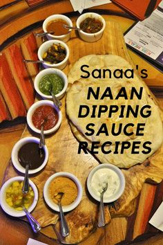 Recipes for all 9 naan dipping sauces from Sanaa at Disney's Animal Kingdom Villas. As a bonus, there's also a recipe for homemade naan! Naan, Copycat Recipes, Sauce Recipes, Cooking Recipes, Indian Dips, Disney Inspired Food, Lime Pickles, Dipping Sauces, Chutney
