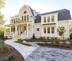 Check out this beautiful new construction home with a classical exterior design . by Blake Home White Exterior Houses, White Houses, Arden Homes, Dutch Colonial, Farmhouse Chic, Classic House, Coastal Homes, My Dream Home, Dream Homes