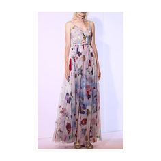 Sandra Mansour     Nuages Fugitives Printed Mousseline Embroidered... ($2,025) ❤ liked on Polyvore featuring dresses, floral embroidered dress, floral printed dress, embroidery dress, long floral dresses and floral dresses