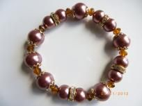 Brown reddish pearls crystal spacers stretch bracelet, free shipping