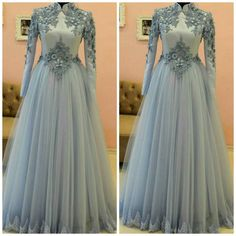 Charming Tulle Prom Dress, Long Sleeve Evening Dress, Formal Dress by fancygirld. Long Sleeve Evening Dresses, Prom Dresses Long With Sleeves, Formal Evening Dresses, Evening Gowns, Dress Formal, Dress Long, Formal Prom, Muslim Wedding Dresses, Muslim Dress