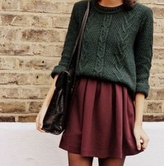 Oversize sweater, flowy skirt, maroon, forest, casual, simple