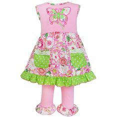 AnnLoren Baby Girls Pink Green Floral Butterfly 2 Pc Pant Outfit 18-24M. Dress features a lovely butterfly applique & Green Polka dot pockets with lace trim. Button closures behind the neck. Knit Capri Pants boast an elastic waistband for an amazing fit!. 100% cotton, machine washable. AnnLoren Baby Girls sz 18-24 mo Boutique Pink & Green Butterfly Dress and Capri Set.