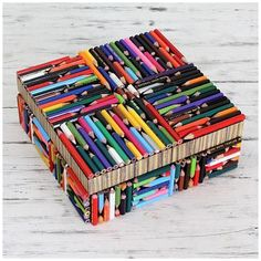 Novica Handmade Recycled Pencil 'Life in Color' Box (India) (Solid), Multi Recycled Crafts, Diy And Crafts, Crafts For Kids, Arts And Crafts, Recycled Books, Decor Crafts, Decorative Accessories, Decorative Boxes, Recycling