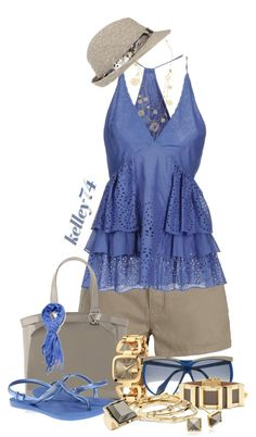 """Blue and Khaki"" by kelley74 ❤ liked on Polyvore"