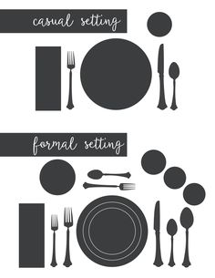 I need this for the holidays!  It's a printable for the proper way to set a casual table setting and a formal table setting.