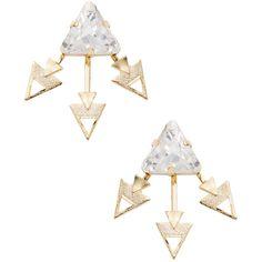 Elizabeth Cole Women's Spiked Ear Jacket - Gold ($50) ❤ liked on Polyvore featuring jewelry, earrings, accessories, gold, elizabeth cole earrings, gold jewellery, elizabeth cole jewelry, swarovski crystal earrings and swarovski crystal jewelry
