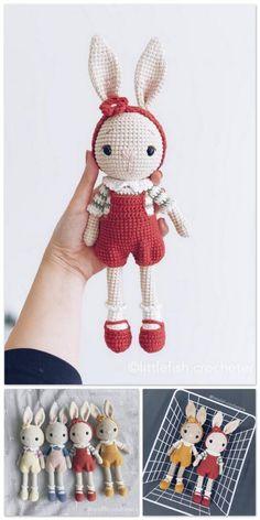 Crochet Baby Toys, Cute Crochet, Crochet For Kids, Crochet Crafts, Crochet Dolls, Crochet Projects, Crochet Bunny Pattern, Crochet Patterns Amigurumi, Amigurumi Doll