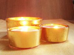 Make This - Gold Leaf Covered Candle Holders Candle Craft, Gold Dipped, Glass Candle Holders, Votive Candles, Gold Leaf, Gold Wedding, Life Hacks, Wedding Inspiration, Diy Projects