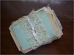 ~ Love letters bundled, similar to my Mom's from Dad (during their courtship); except hers are tied in satin ribbon and stored in her cedar chest... [HER INSTRUCTIONS: They are to be burned once she is gone... ~js]