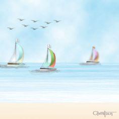 Ilustración digital: Playa y veleros