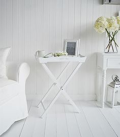 A White Butler Tray Side Table. Ideal As A Guest Table In The Living Room  As It Folds Away