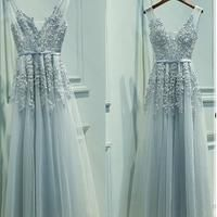 Elegant A-Line V-Neck Sleeveless Tulle Long Prom/Evening Dress With Appliques - Thumbnail 1