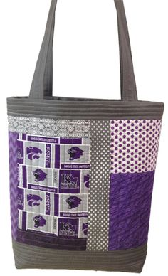 "K-State Bag for Angela. Pattern is ""Perfect Quilted Totes"" by Elizabeth Hartman."