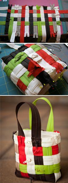 DIY Woven Zipper Tote Bag
