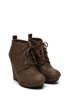 Lace-Up Talk Wedge Booties LTTAUPE