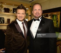 Actor Jeremy Renner (L) and recording artist Garth Brooks pose backstage during 'Sinatra 100: An All-Star GRAMMY Concert' celebrating the late Frank Sinatra's 100th birthday at the Encore Theater at Wynn Las Vegas on December 2, 2015 in Las Vegas, Nevada. The show will air on CBS on December 6.