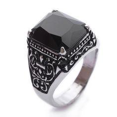 Black Onyx Gemstone Stainless Steel Mens Ring Size 9 10 11  R265