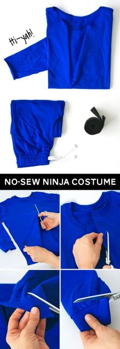 The shirt is a much better idea than how I was going to drape fabric. Will have to do this but wish she'd posted this before I'd bought the fabric last week. *laugh* | No-Sew Ninja Costume at PagingSupermom.com