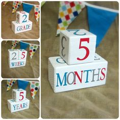 Wooden Baby Age Blocks - Photo Prop - 0 - 43 Weeks, Months, Years and Grade - Red Teal and Gray on Etsy, $30.00