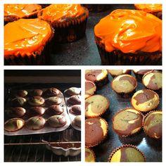 Camo cupcakes with blaze orange icing