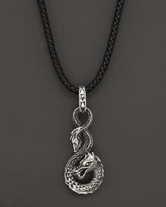 John Hardy Men's Naga Silver Dragon Pendant on Black Leather Cord