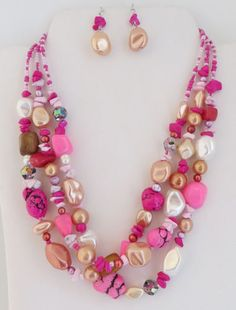 Cowgirl Bling PINK Pearl Fuschia Semi precious Western Chunky Beads Necklace Set  BAHA RANCH WESTERN WEAR EBAY SELLER ID  SOLOEDITION