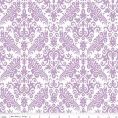 Riley Blake Designs - Hollywood - Medium Damask in Lavender on White