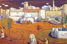 Ciudad del árabe, témpera de Wassily Kandinsky (1866-1944, Russia) 1905