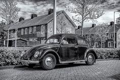 Zwart-Wit foto, Holland, VW Kever, Amsterdam, Volkswagen,Amsterdam Noord, Urbex, Kunstdruk, Nederland, oldtimer, VW